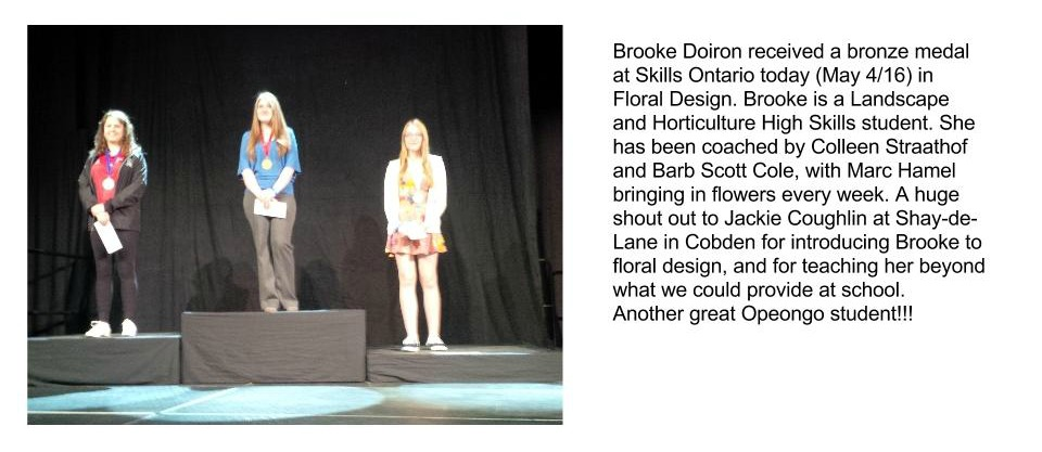 Brooke Doiron received a bronze medal ast skills ontario