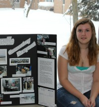 Opeongo student displaying career fair project